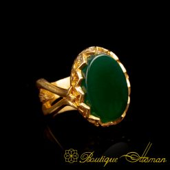 Gold Plated Green Aqeeq Hand Made Women Ring