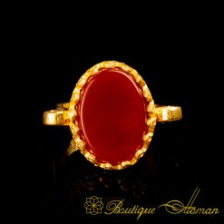 Gold Plated Red Aqeeq Hand Made Simple Women Ring