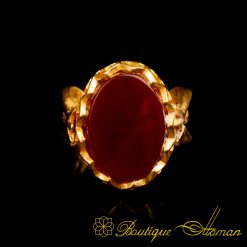 Gold Plated Red Aqeeq Hand Made Women Ring