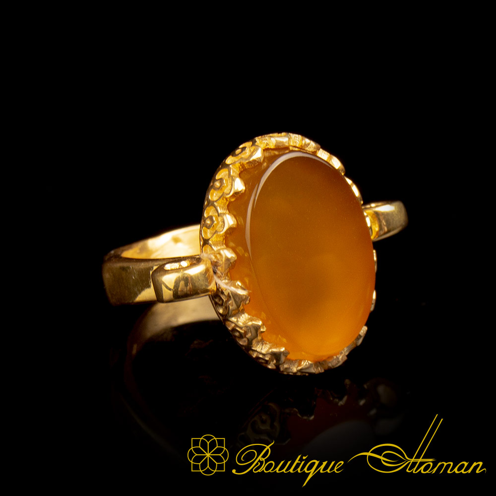 Gold Plated Yellow Aqeeq Hand Made Simple Women Ring