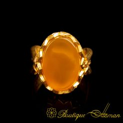 Gold Plated Yellow Aqeeq Hand Made Women Ring