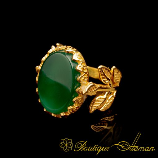 Green Aqeeq Gold Plated Hand Made Women Flower Ring