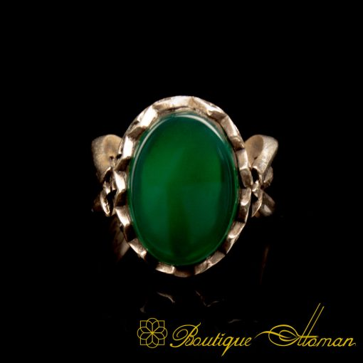 Green Aqeeq Hand Made Women Ring