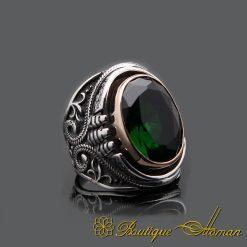 Green Zircon Handmade Silver Men Ring