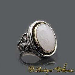 Handmade Quartz Silver Men Ring
