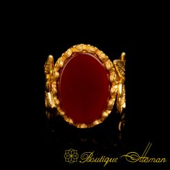 Red Aqeeq Gold Plated Hand Made Women Flower Ring