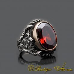Red Garnet Silver Men Ring with Claw