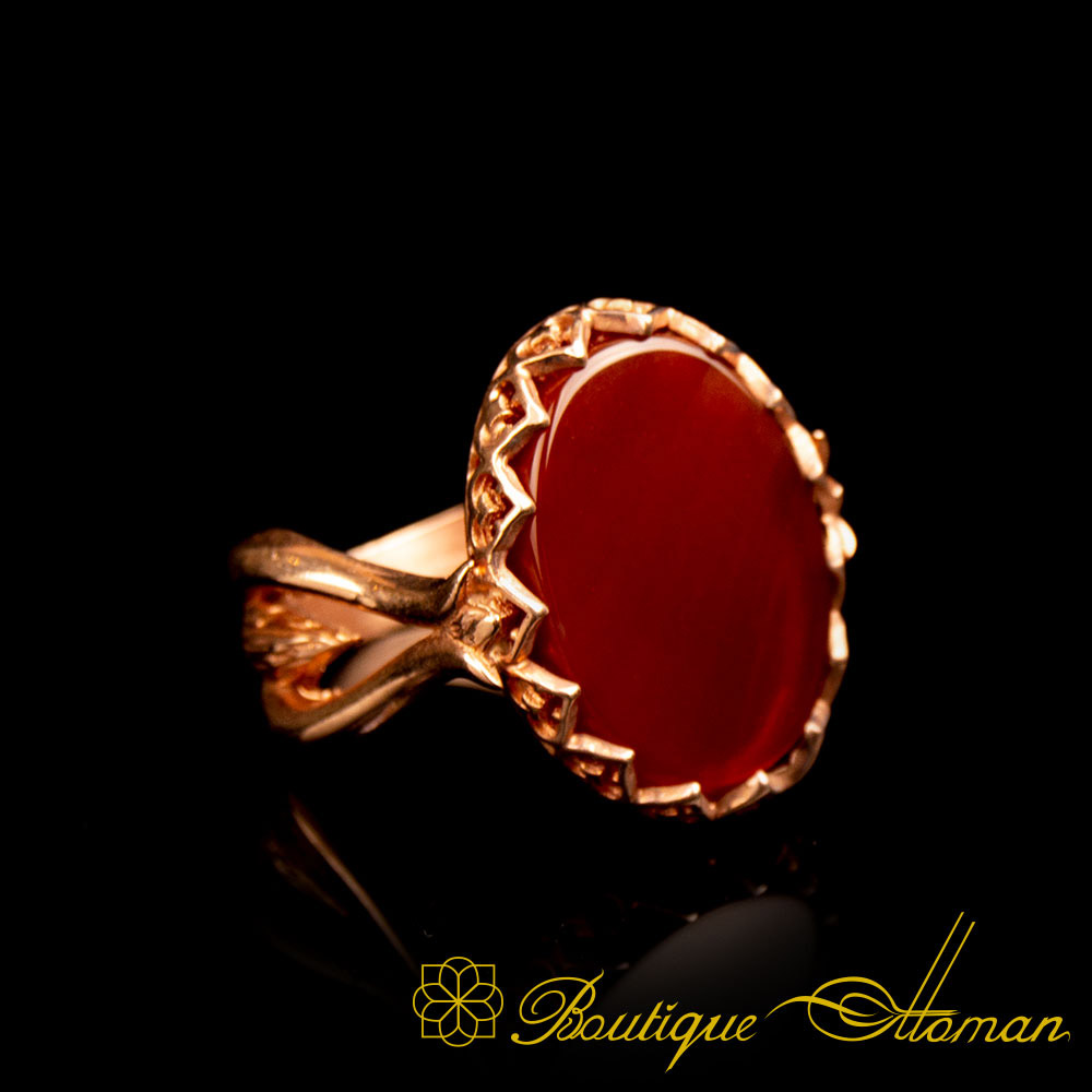 Rose Gold Plated Red Aqeeq Hand Made Women Ring