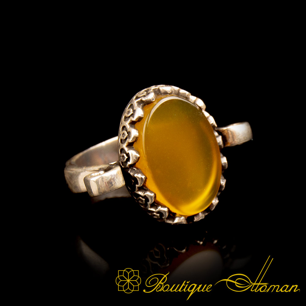 Yellow Aqeeq Hand Made Simple Women Ring