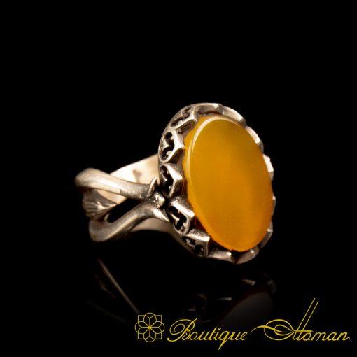 Yellow Aqeeq Hand Made Women Ring