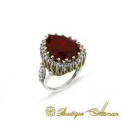 Hurrem Sultana Garnet Silver Ring