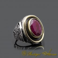 Oval Root Ruby Hand Made Silver Men Ring